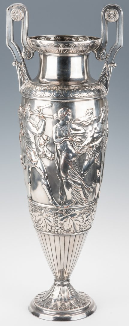 Lot 222: Large Silverplated urn with Classical figures