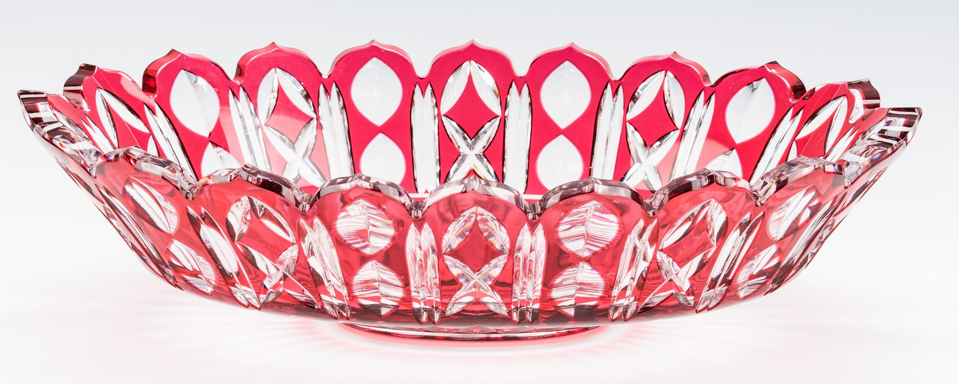 Lot 224: Cranberry Cut to Clear Glass Centerpiece Bowl
