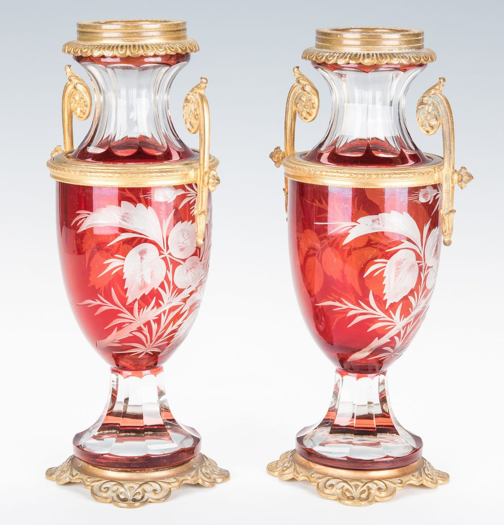 Lot 225: Pr. Cut Ruby Glass Vases w/ Ormolu Mounts