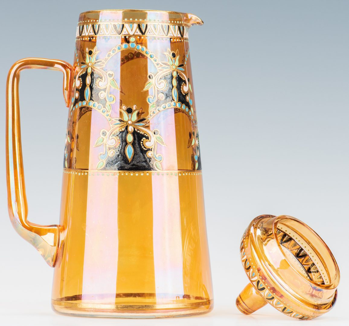 Lot 226: 4 Enameled amber glass Kovschs and pot