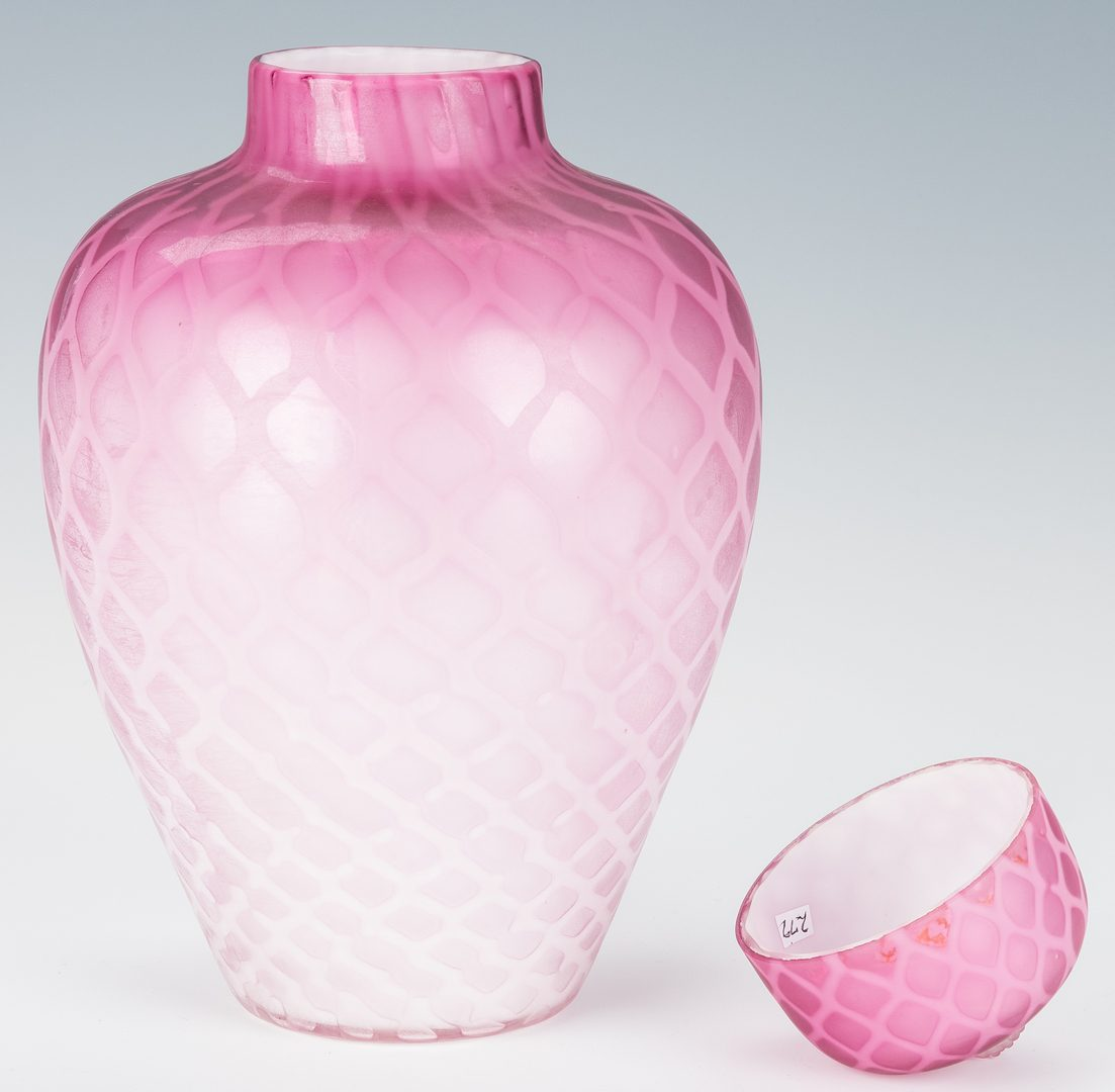 Lot 228: Satin glass jar, Poss. Mt. Washington