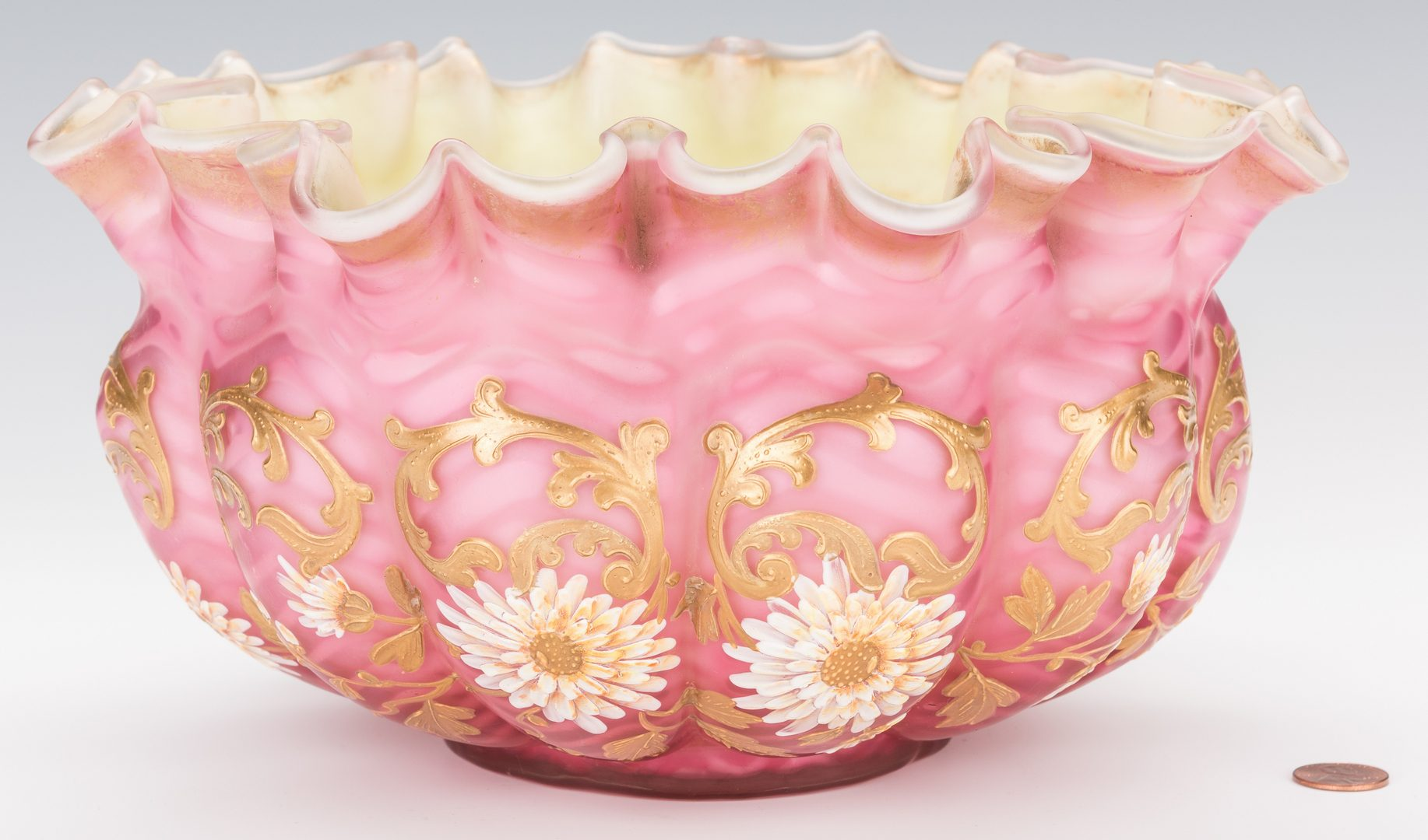 Lot 229: Gilt Satin Glass Air-Trap Bride's Bowl, Poss. Webb