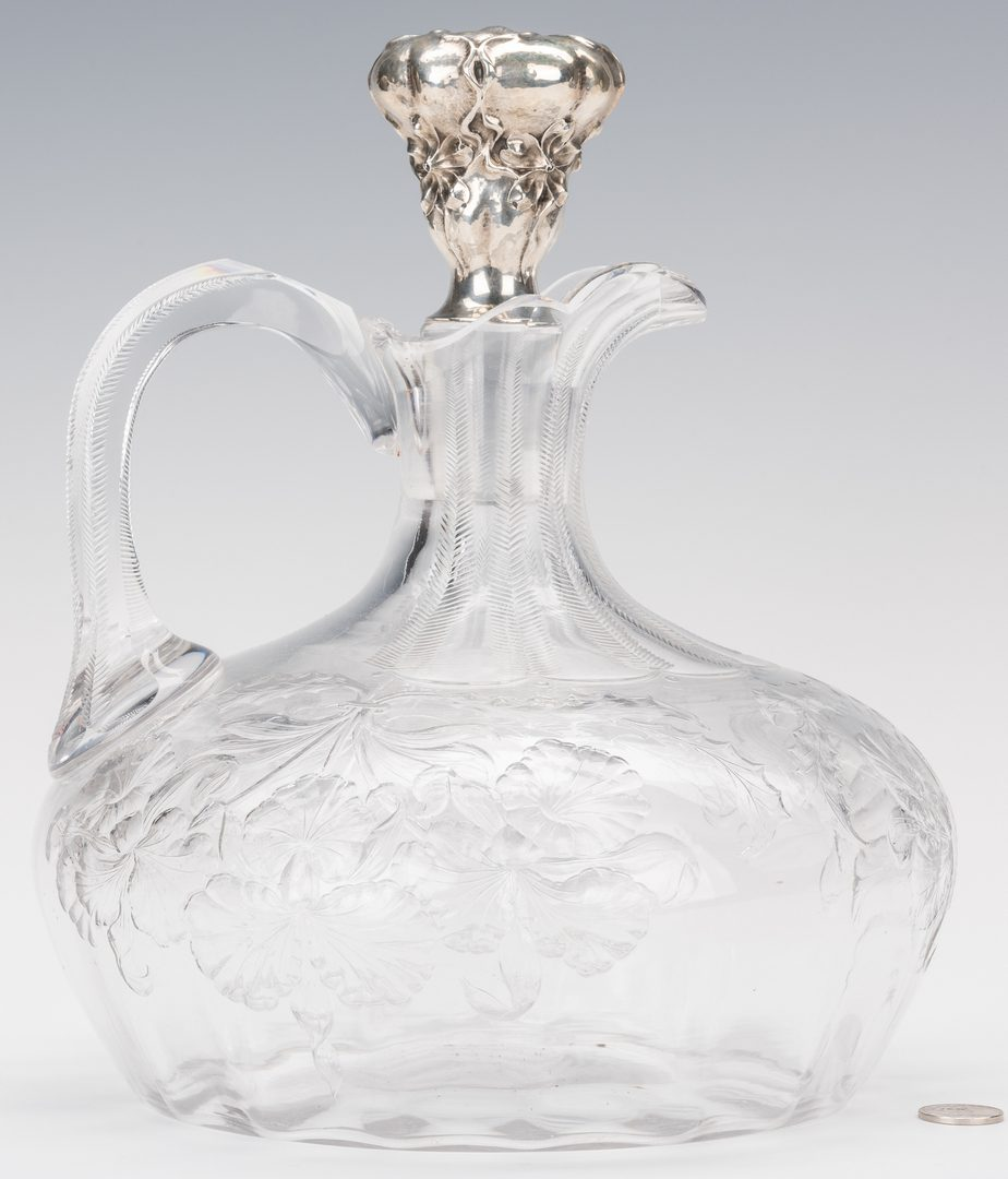 Lot 230: Hawkes glass pitcher; Gorham Sterling stopper