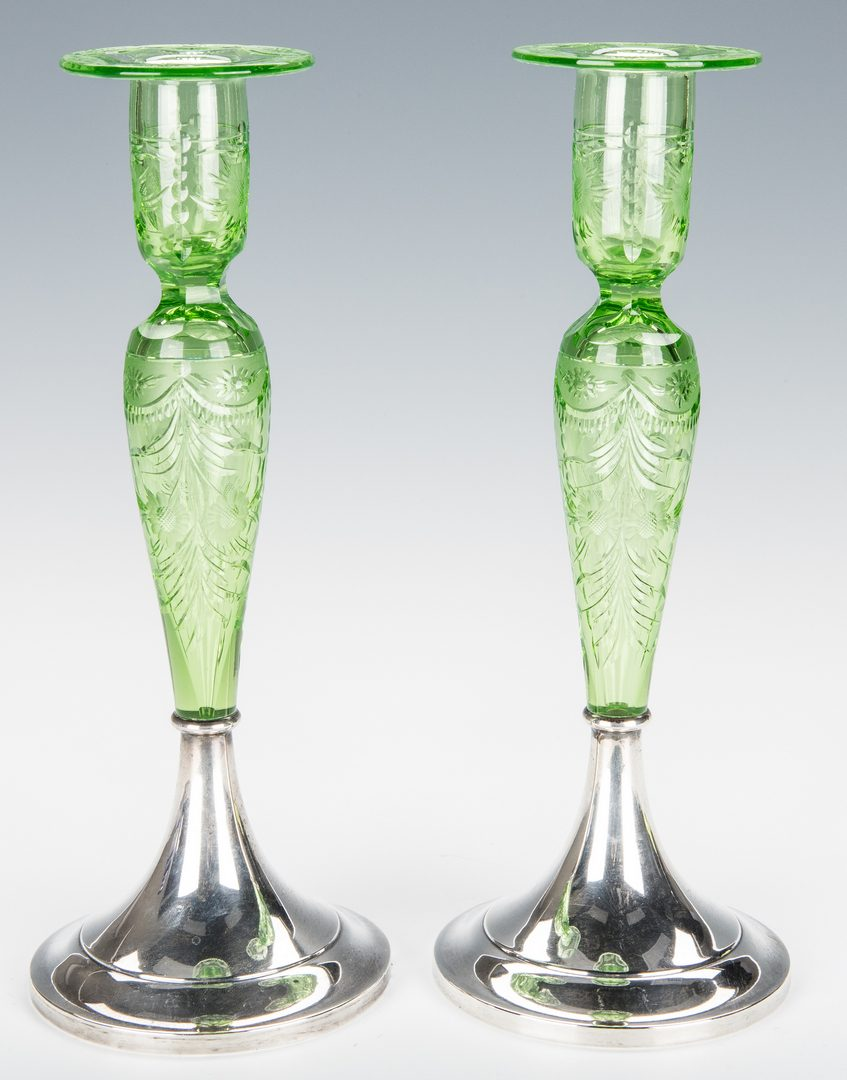Lot 231: 3 Glass Decorative Items: Candlesticks; Decanter