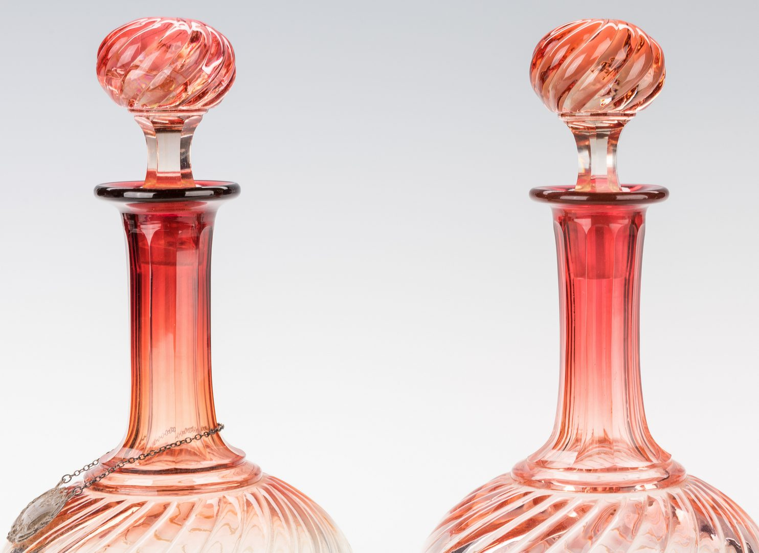 Lot 232: Pr. Baccarat Glass Decanters & Amethyst Pressed Glass Center Bowl