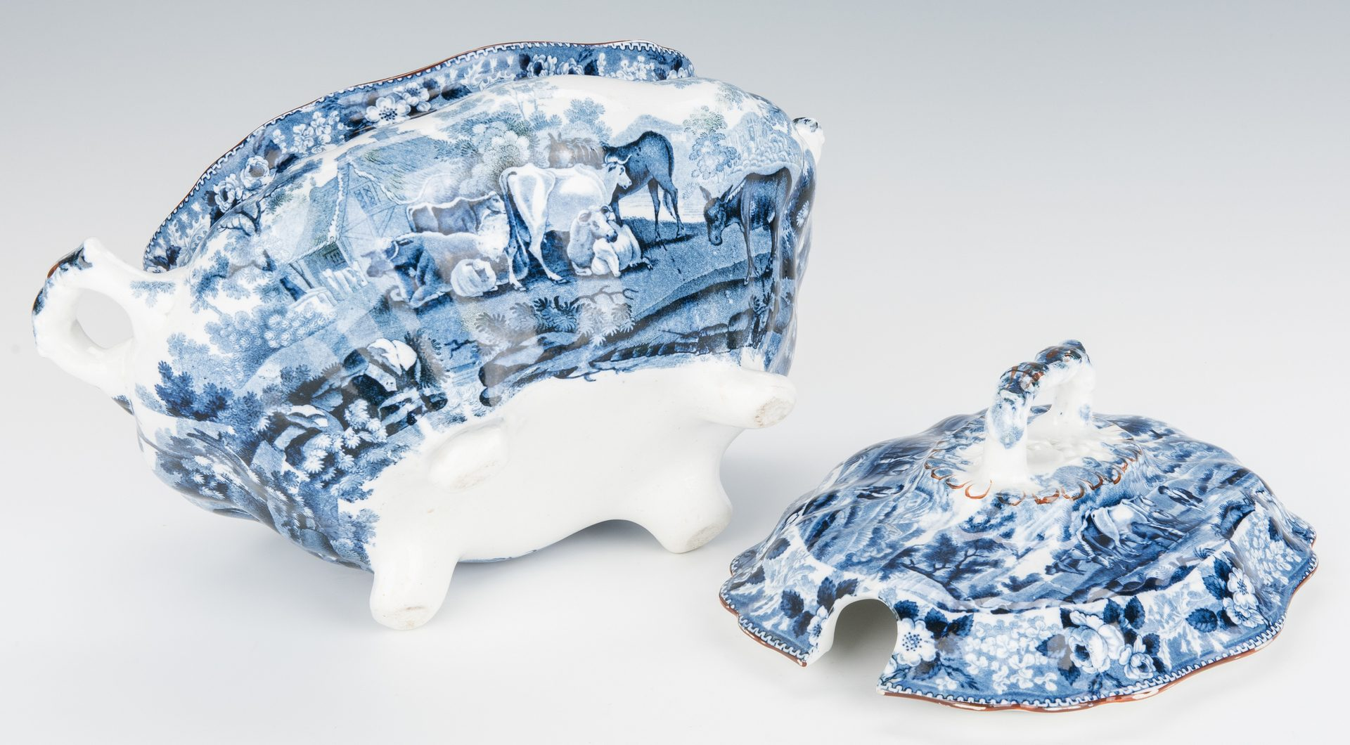 "Lot 234: Staffordshire ""Cows"" tureen plus ladle"