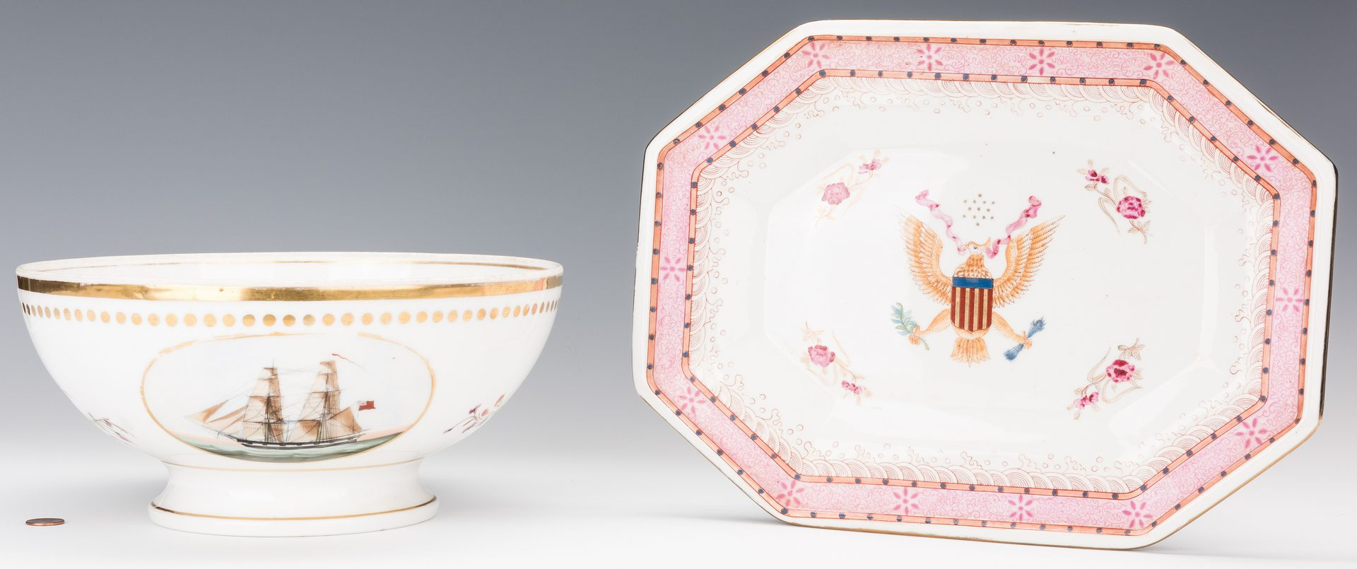 Lot 235: Ship Decorated Bowl & Armorial Platter, 2 pcs.