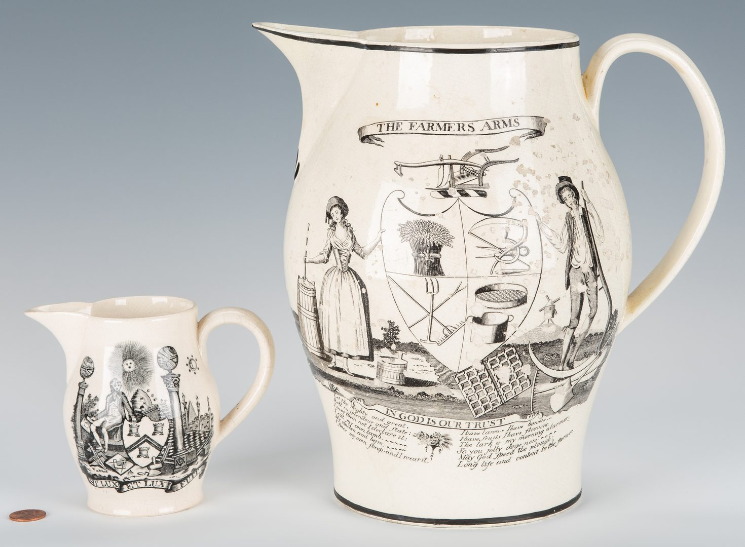 Lot 237: 2 American Historical Related Jugs, Masonic and Farmers' Arms