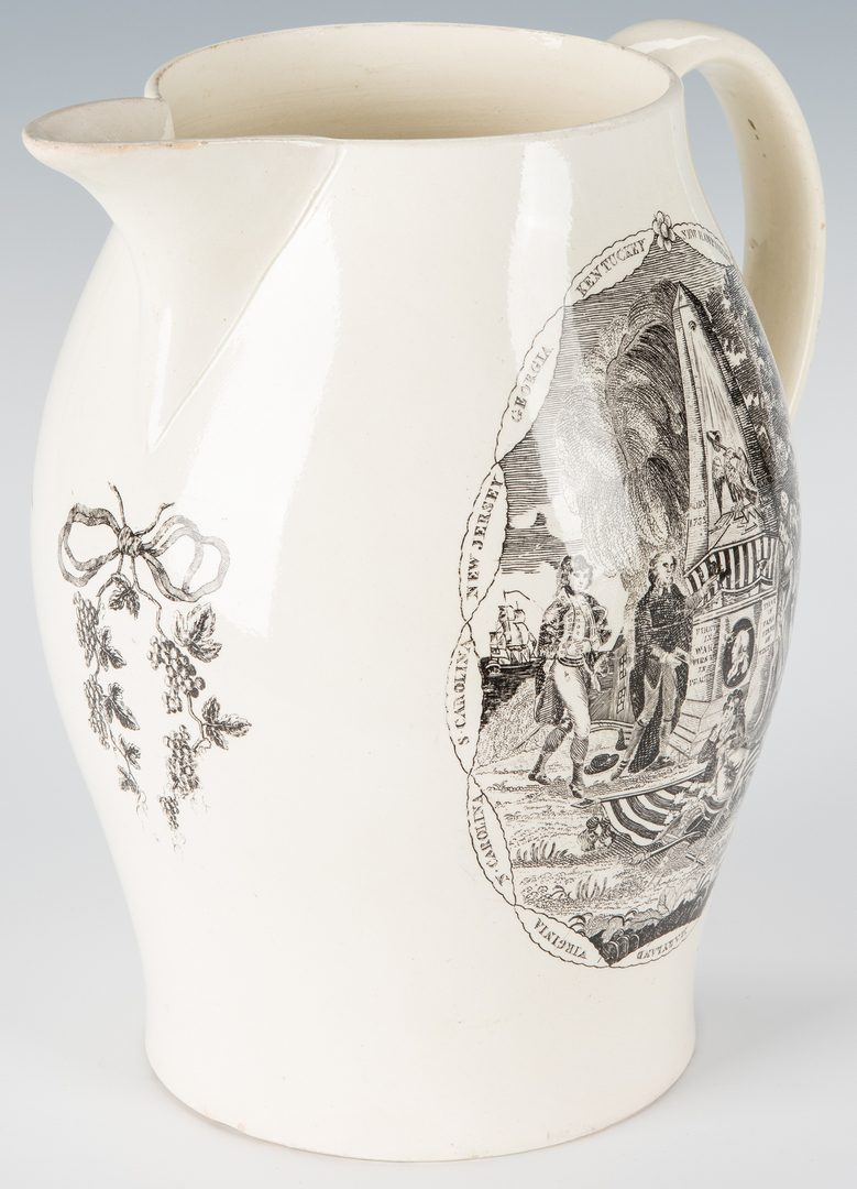 Lot 239: American Historical Liverpool Jug, Washington Memorial