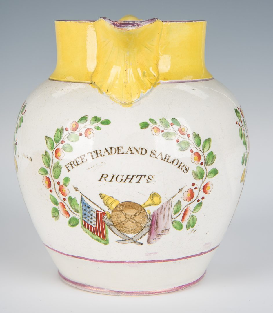 Lot 240: American Polychrome Historical Staffordshire Jug, Arms of the US