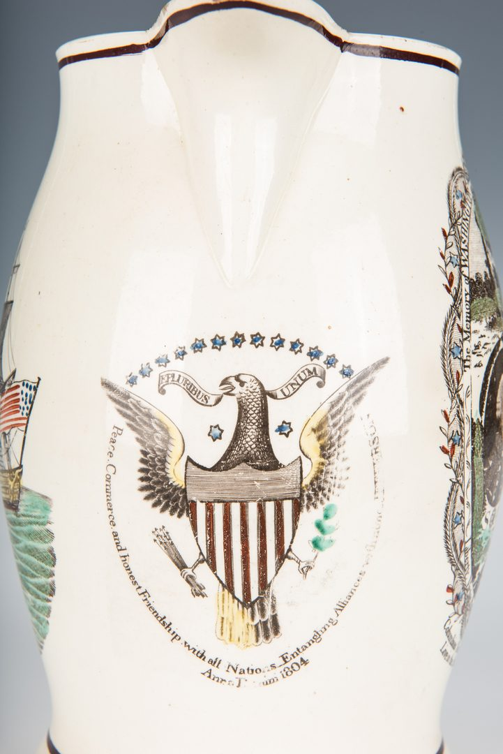 Lot 241: American Historical Polychrome Liverpool Jug, 1804