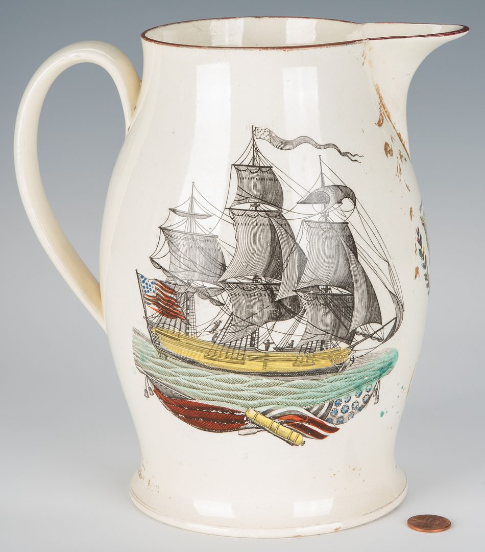 Lot 242: American Historical Liverpool Jug, New Bedford