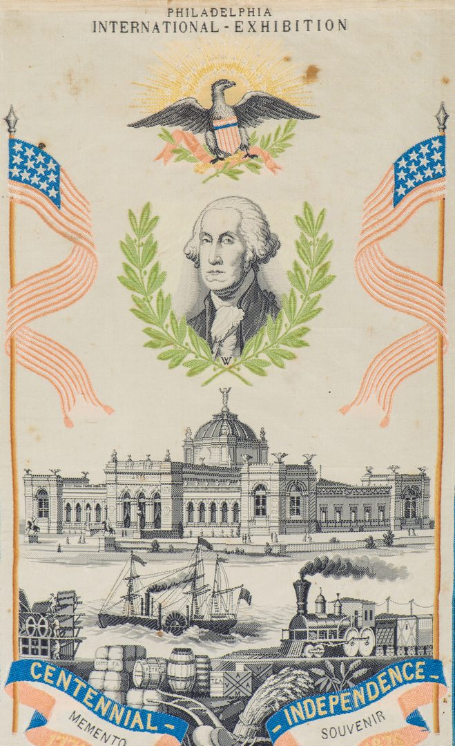 Lot 245: 3 American Independence Memorial Ephemera, inc. 1876 Centennial Ribbon