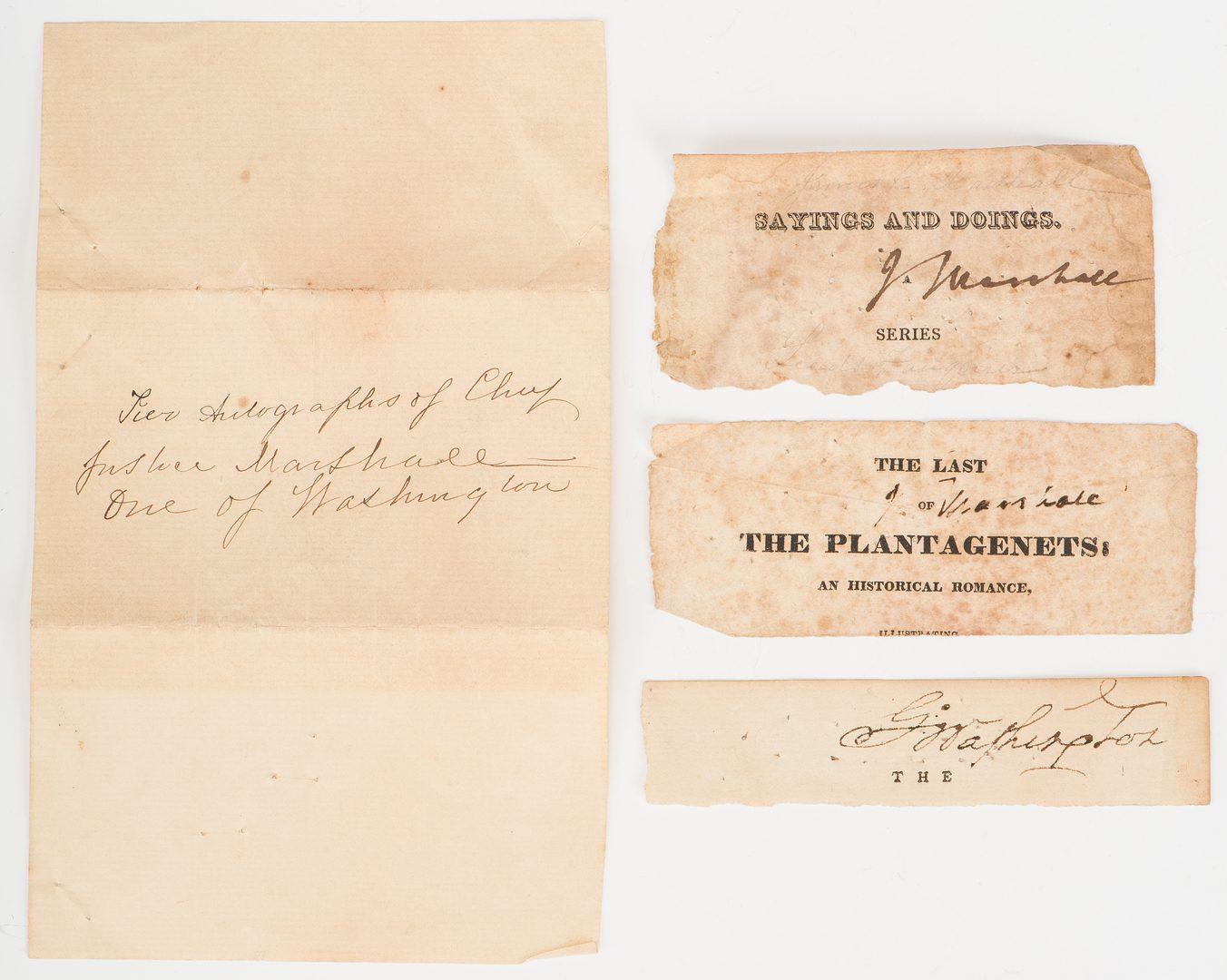 Lot 247: 1 George Washington & 2 John Marshall Cut Signatures, Plus Mt. Vernon Albumen Print