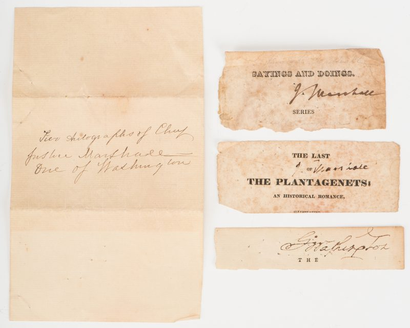 Lot 247: 1 George Washington & 2 John Marshall Cut Signatures, Plus Mt. Vernon Albumen Print