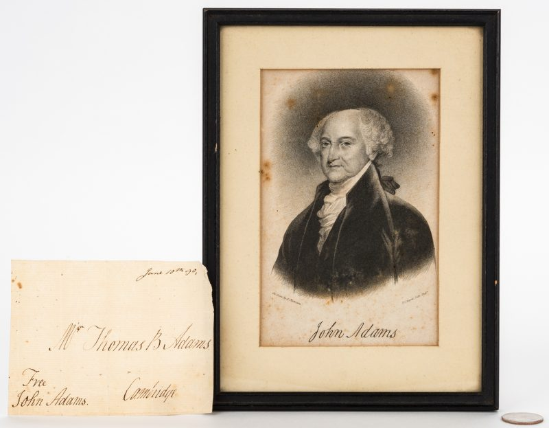 Lot 249: John Adams Signed Free Franked Envelope & Portrait Litho