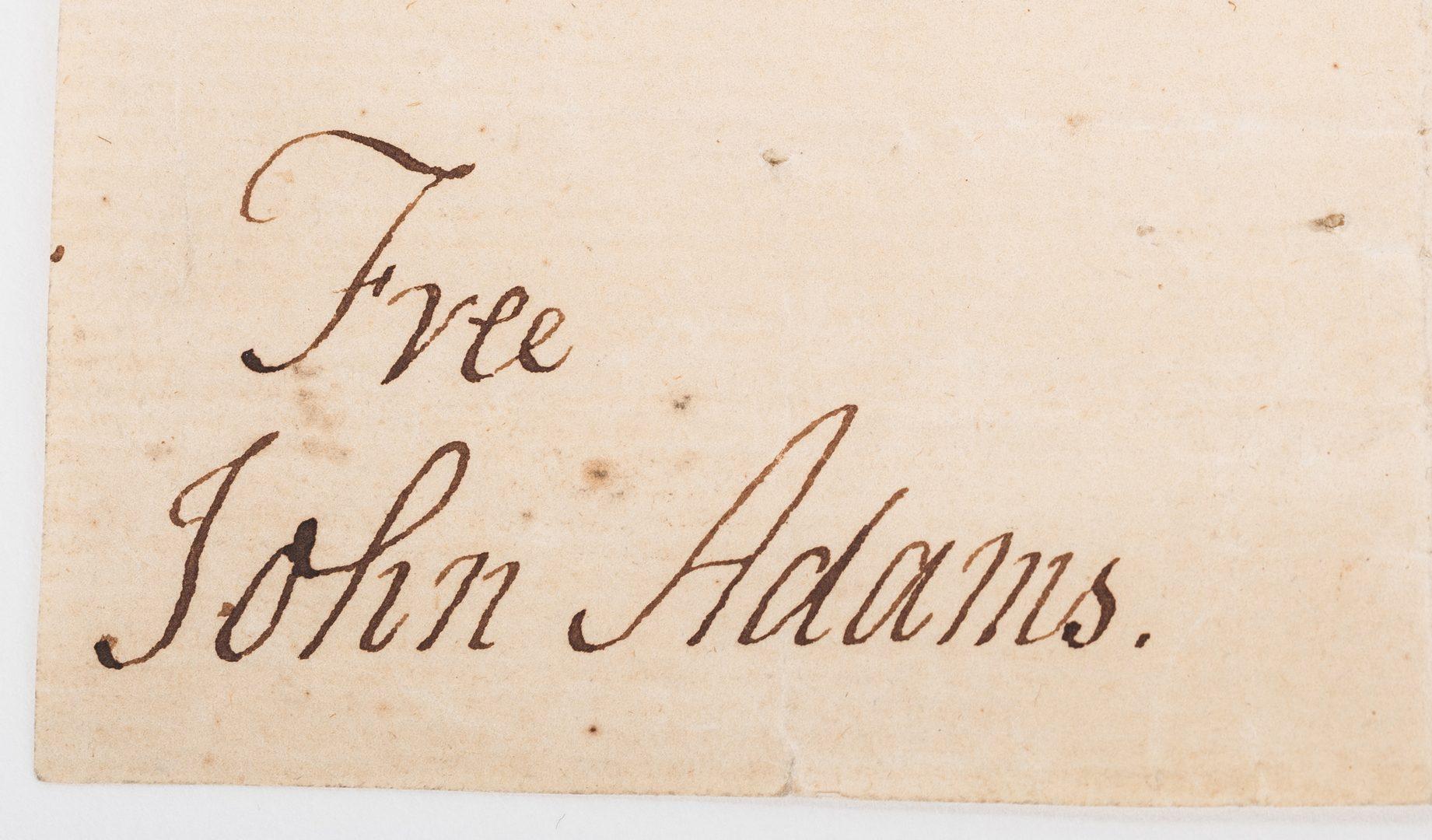 Lot 249: John Adams Signed Free Franked Envelope & Portrait Litho