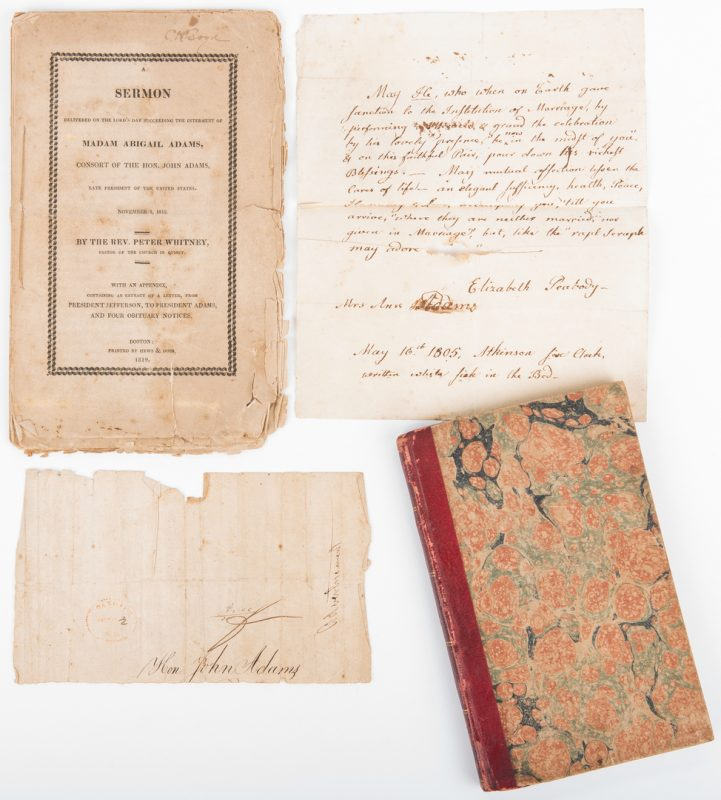 Lot 250: John Adams Archive, inc. book with end of life signature