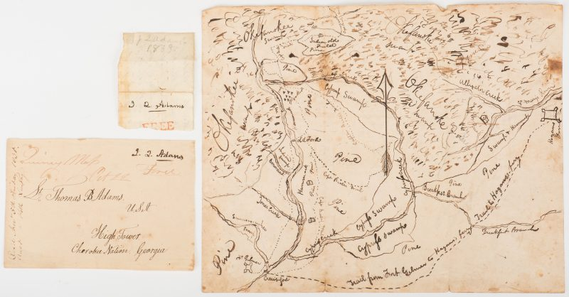 Lot 251: Okefenokee Map & J. Q. Adams Signed Free Franked Envelopes