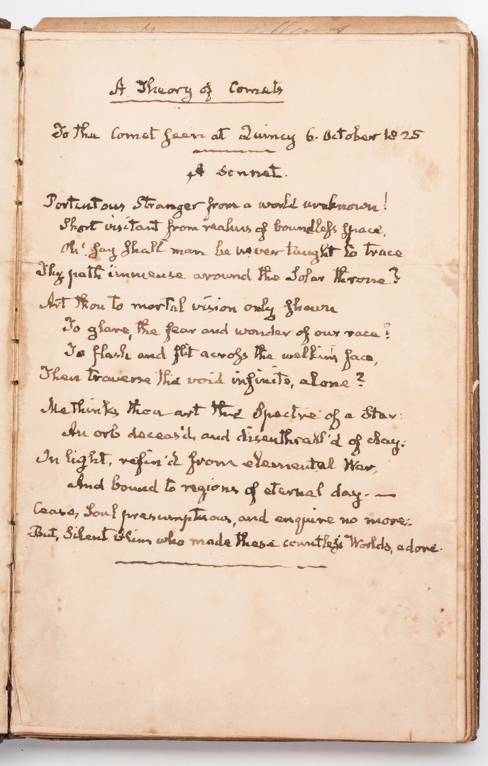 Lot 252: John Q. Adams Handwritten Poem in Album