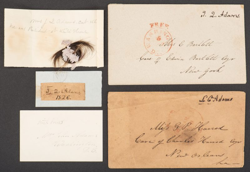 Lot 253: John Q. & Louisa Adams Signatures & Lock of Hair