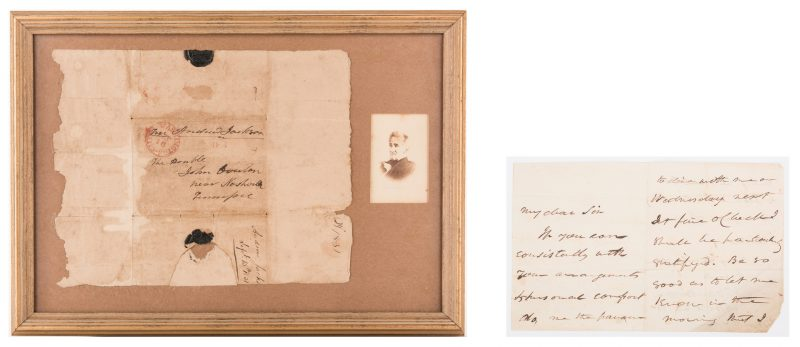 Lot 254: A. Jackson and Van Buren Correspondence to John Overton of TN, inc. Jackson Free Frank