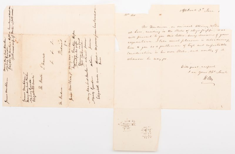 Lot 257: Henry Clay ALS to John Marshall, Marshall Annotations