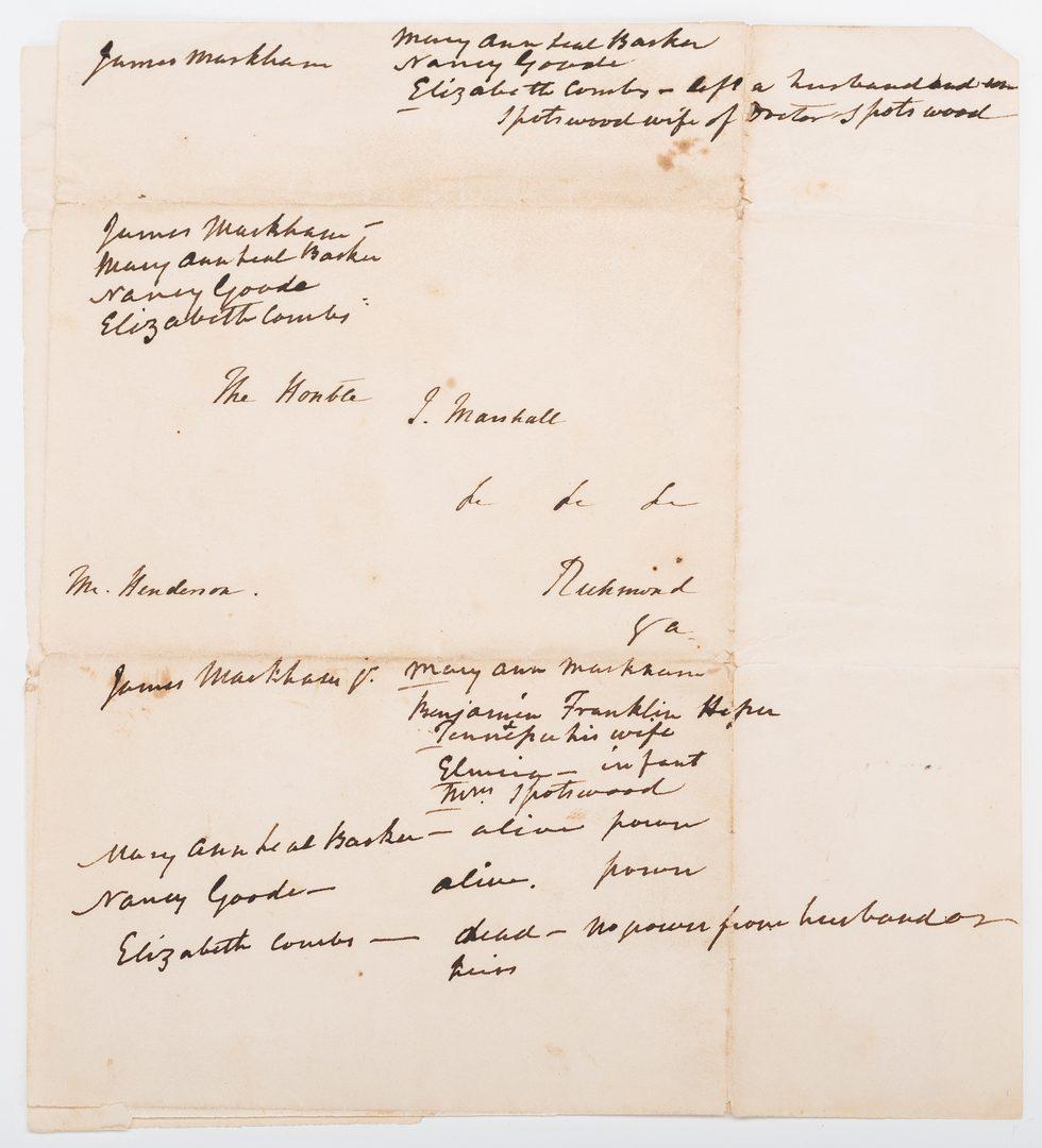 Lot 257: Henry Clay ALS to John Marshall, Marshall Annotations