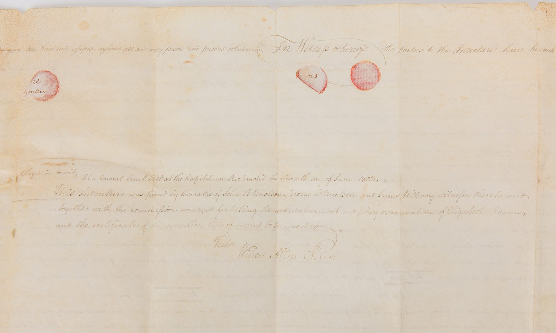 Lot 258: J. Marshall, R. Adams, J. Wickham Indenture, 1803
