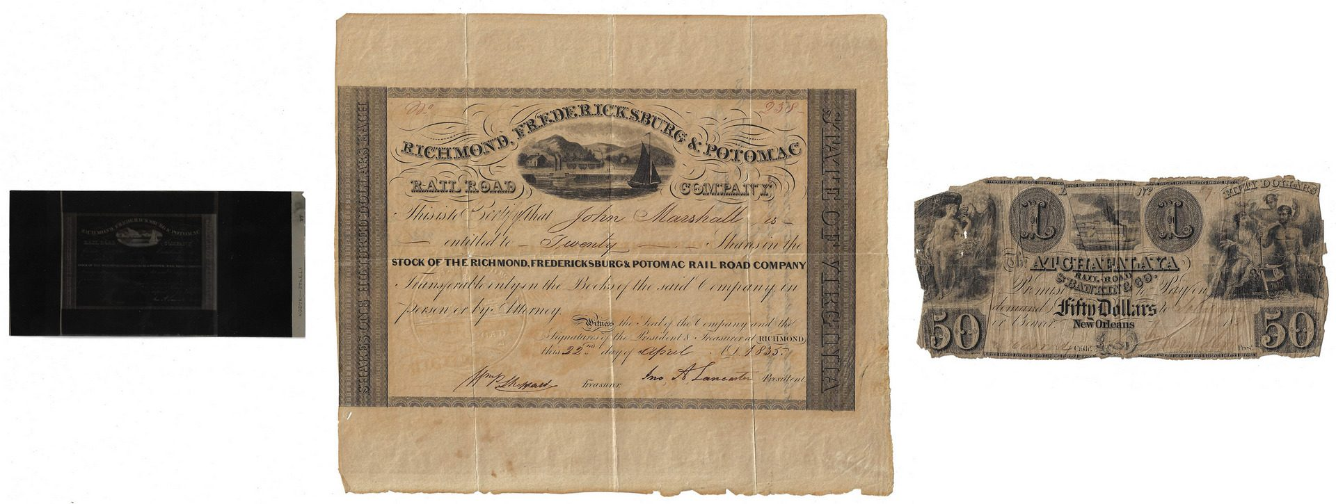 Lot 259: Justice John Marshall Railroad Stock Certificate, Charles Harrod Signed Atchafalaya Currency, 2 items