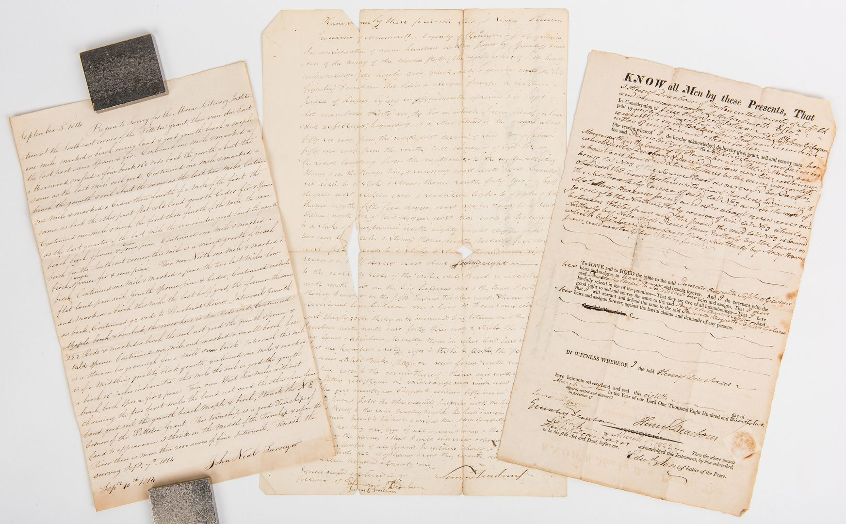 Lot 267: 3 Land Documents, inc. Henry Dearborn signed