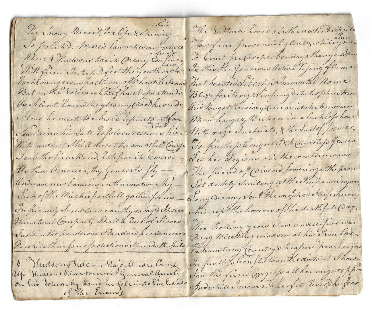 Lot 270: Monody on Major Andre by Miss Seward, handwritten