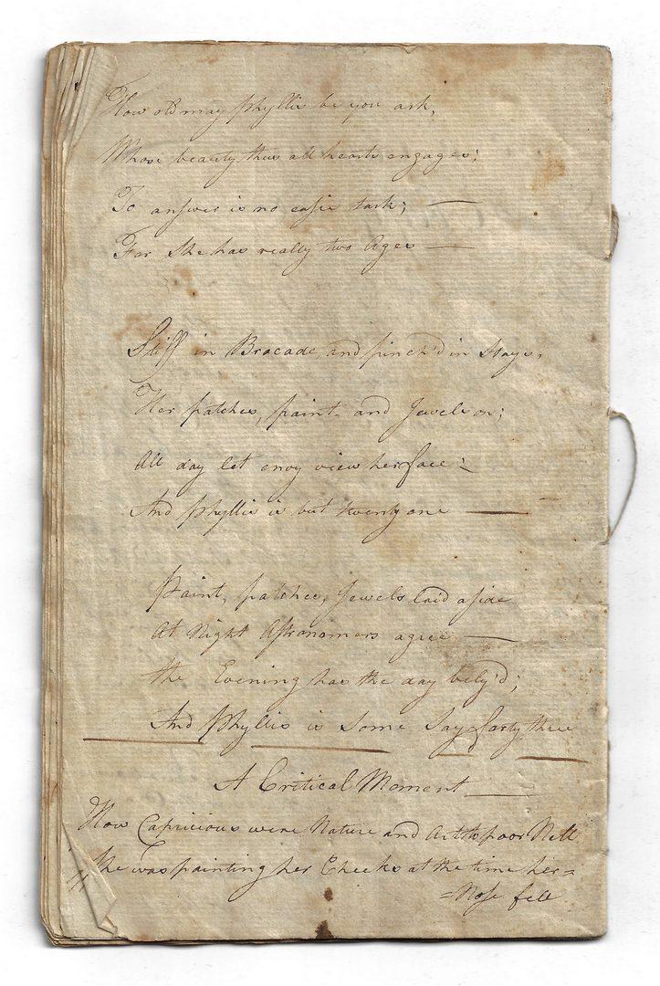 Lot 270: Monody on Major Andre by Miss Seward, handwritten