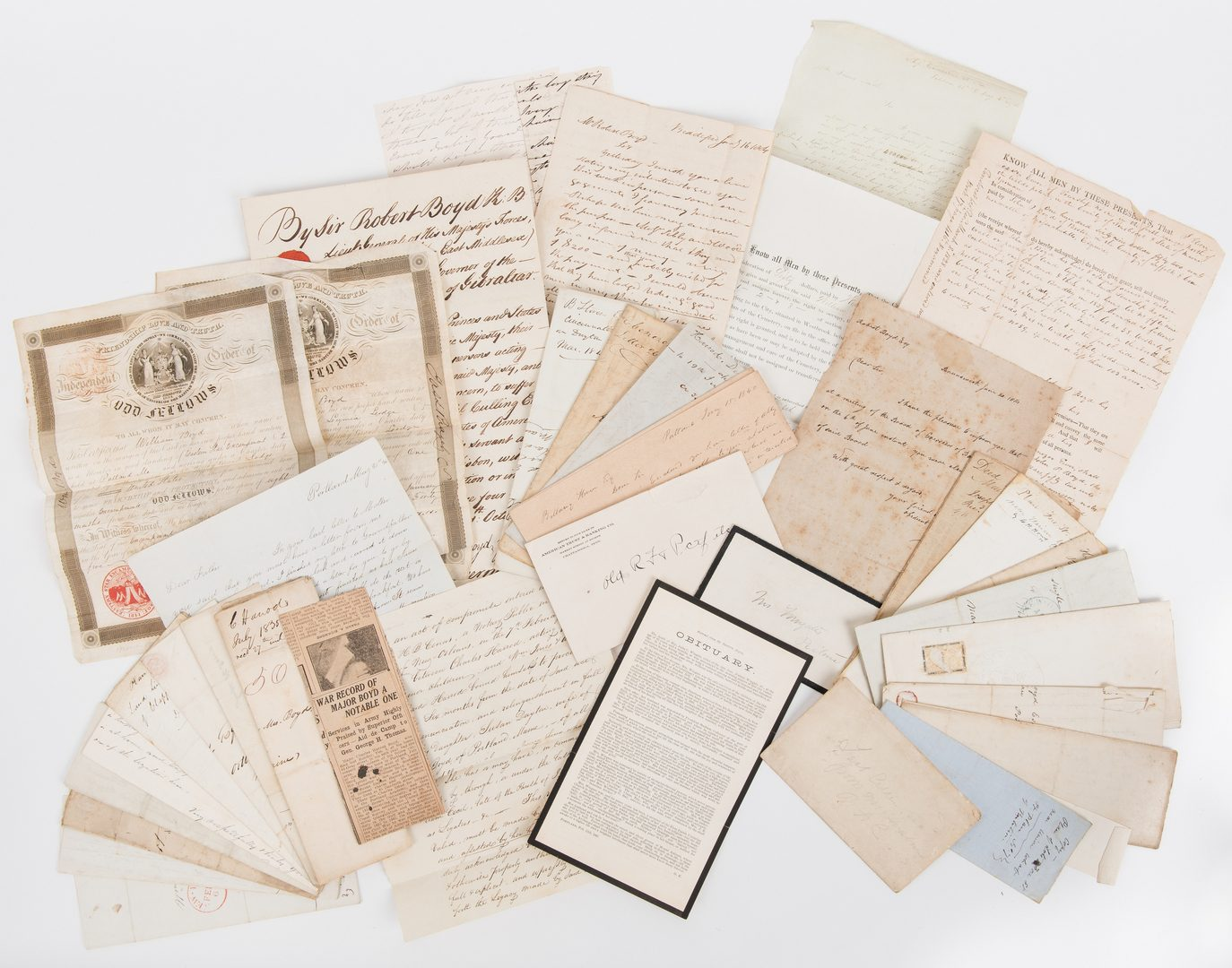 Lot 272: Boyd/Wingate Family Archive, 37 items total