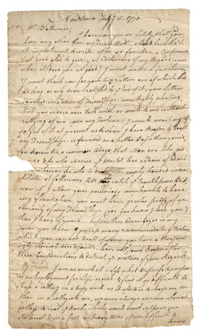 Lot 273: 5 Colonial Documents, inc. S. M. Mitchell Letter