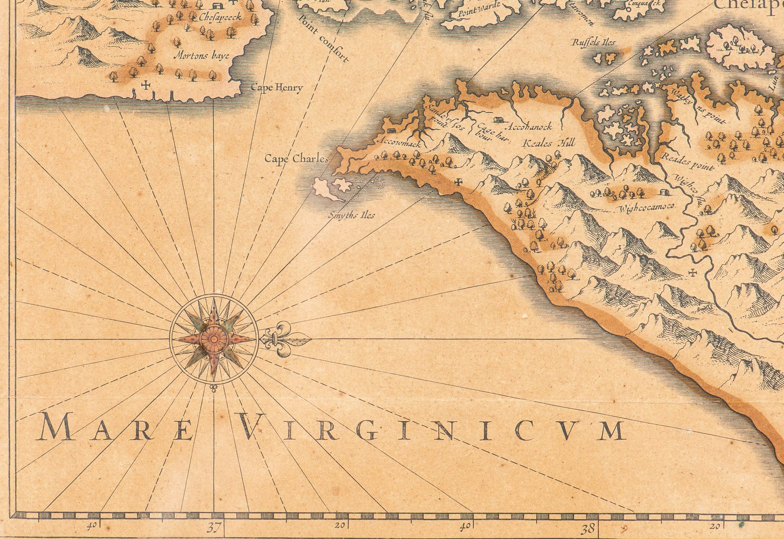 Lot 275: Hondius Map of VA – Nova Virginiae Tabula,