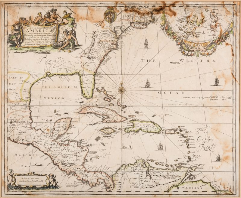 Lot 276: Morden 1673 Virginia Map of English Plantations