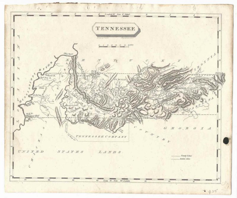 Lot 278: Tennessee Map, Samuel Lewis & Alexander Lawson, 1804