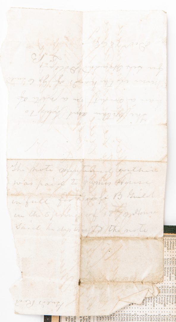 Lot 280: KY/TN Map, Civil War letter, Receipt, 3 items