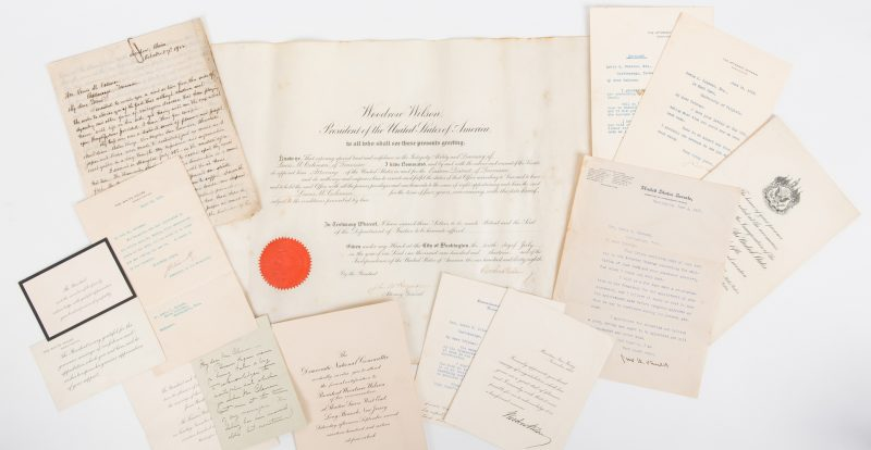 Lot 286: 14 Wilson Era Items, inc. signed appointment