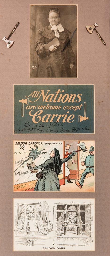 Lot 292: Carry Nations Autograph and Postcards, Framed