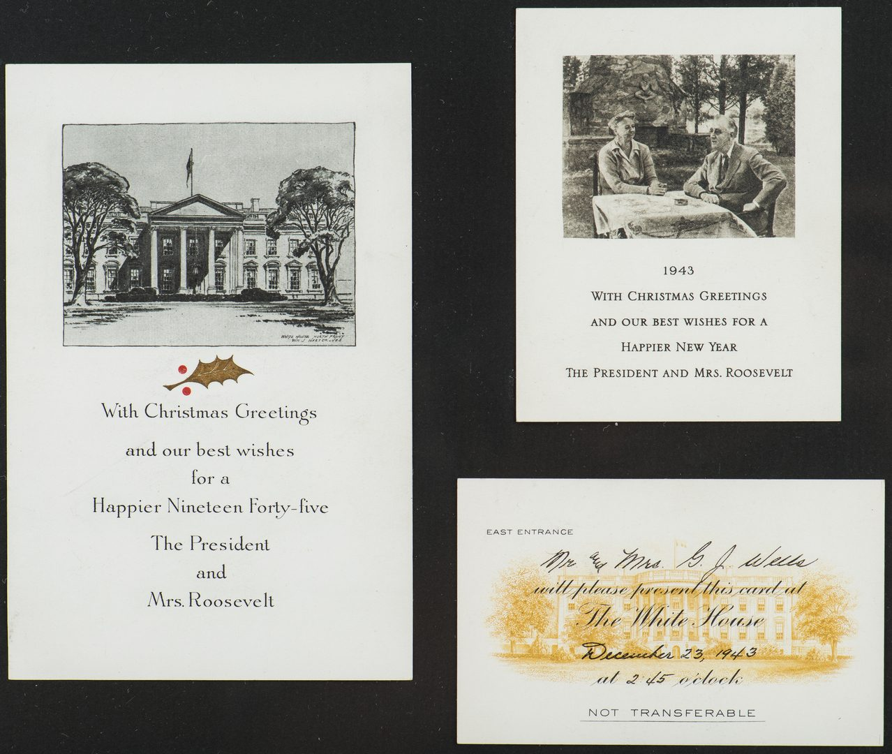 Lot 293: 1943 Roosevelt Christmas Card & Cane
