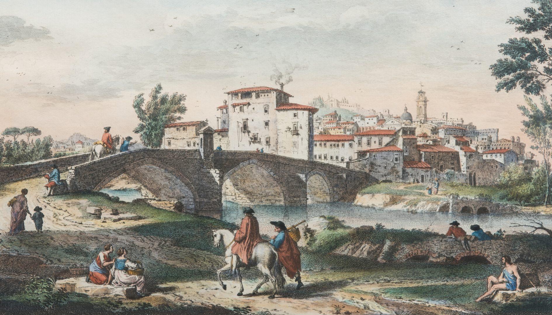 Lot 298: Pair Zocchi Italian castle engravings