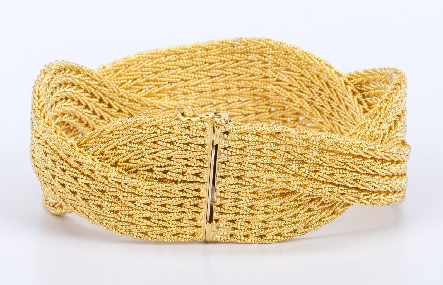 Lot 29: 18K Italian Wide Woven Twist Bracelet