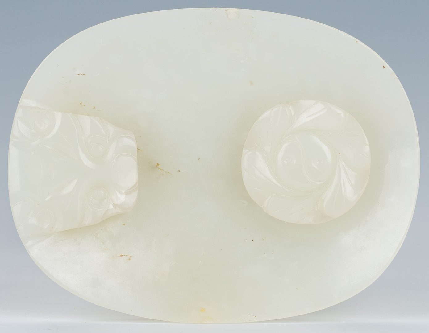 Lot 2: Carved Oval Chinese White Jade Buckle
