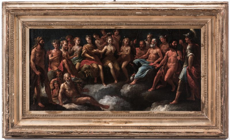 Lot 301: Old Master Mythological O/C, Crowning of Aphrodite