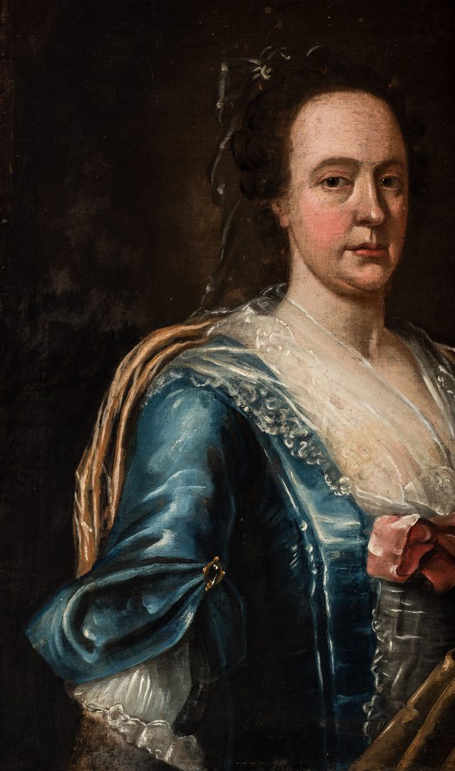 Lot 303: 18th Cent. Continental Portrait, Lady in Blue