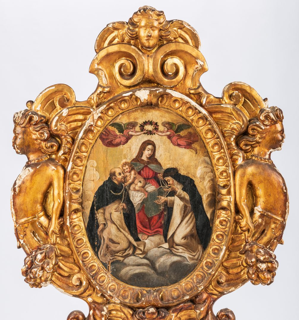 Lot 305: Carved Giltwood Reliquary, oil on panel of St. Mary