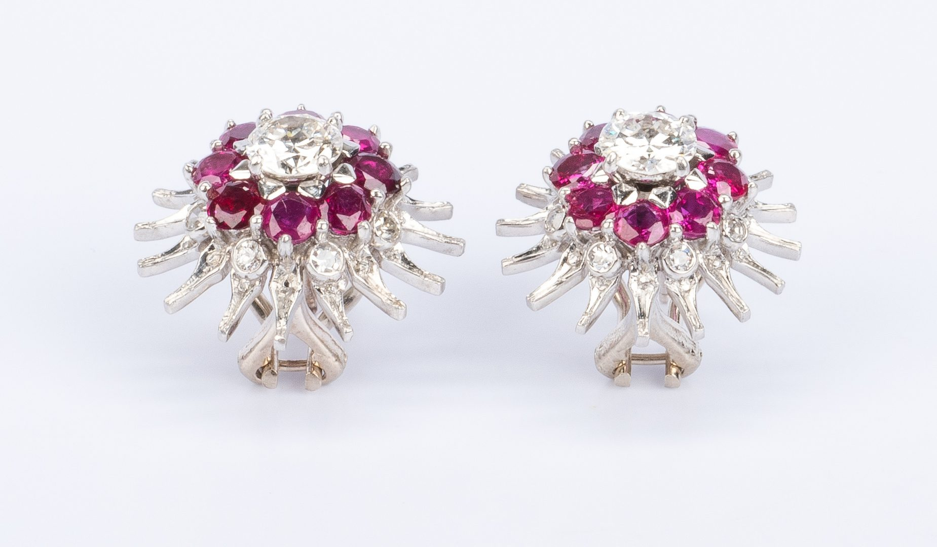 Lot 30: Pr Ruby European Cut Dia Earrings, 14Kwg