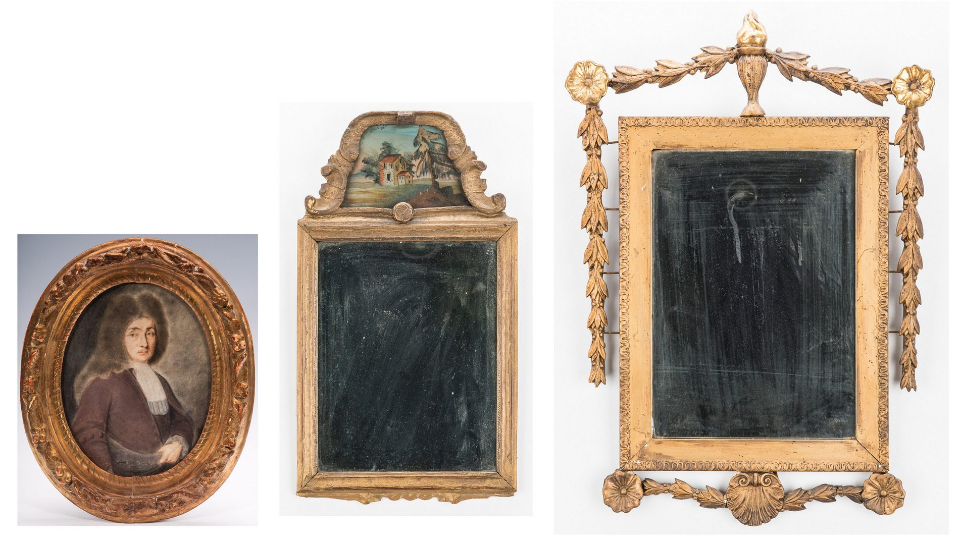 Lot 311: 2 Period American Mirrors & 1 18th Cent. French Portrait